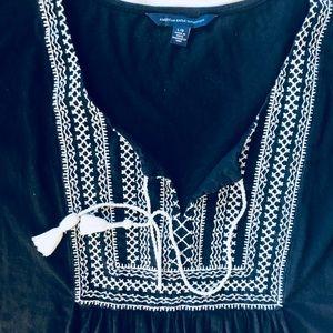American Eagle Outfitters Tops - AE black tassel tie top